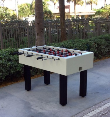 All-weather outdoor foosball table